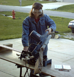 Cutting crown on a compound miter saw. Click for larger image.